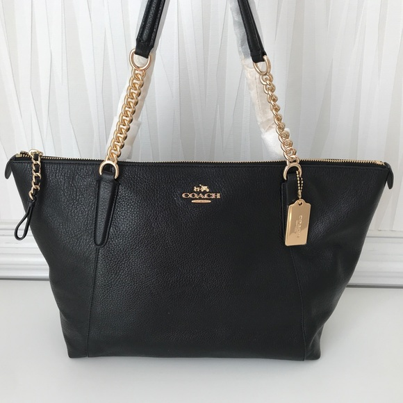 buy popular famous designer brand best supplier NWT COACH LEATHER AVA CHAIN TOTE F22211 BLACK